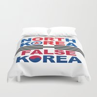 korea Duvet Covers featuring North Korea by pollylitical