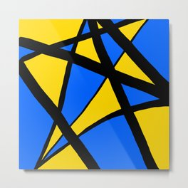 Yellow and Blue Triangles Abstract Metal Print