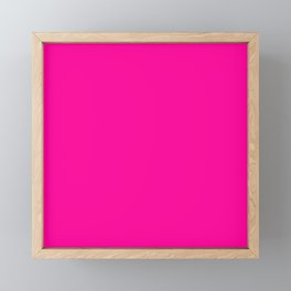 Neon Pink Solid Colour Framed Mini Art Print