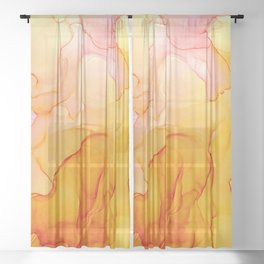 Pink Orange Abstract 4121 Modern Alcohol Ink Abstract by Herzart Sheer Curtain