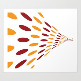 BROWN AND ORANGE DOTS  ON A WHITE BACKGROUND Abstract Art Art Print