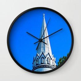 Church Steeple Statues Wall Clock