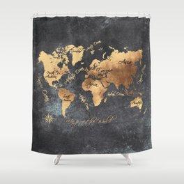world map 147 gold black #worldmap #map Shower Curtain