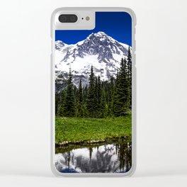 Mt Rainier Reflection Clear iPhone Case