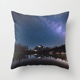 Summer Stars - Galaxy Mountain Reflection - Nature Photography Throw Pillow