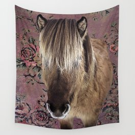 Icelandic pony with rosy posies Wall Tapestry