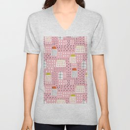Abstract pink black hand painted geometrical pattern Unisex V-Neck