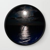 moonrise Wall Clocks featuring Moonrise by Craig Treadwell