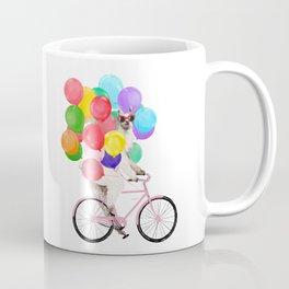 Fashion Llama Riding with Colourful Balloons Coffee Mug