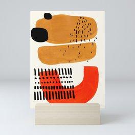Mid Century Modern Abstract Minimalist Retro Vintage Style Fun Playful Ochre Yellow Ochre Orange Sha Mini Art Print