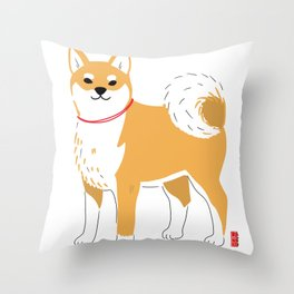 Minimal Shiba illustration Throw Pillow