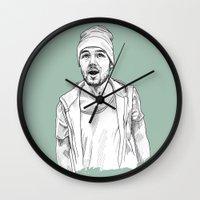 liam payne Wall Clocks featuring Liam Payne  by Cécile Pellerin