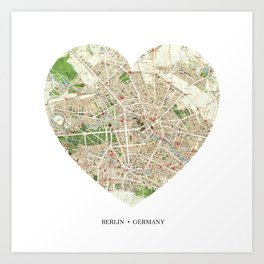 Berlin heart map Art Print