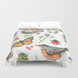 Flora and Fauna of Summer Duvet Cover