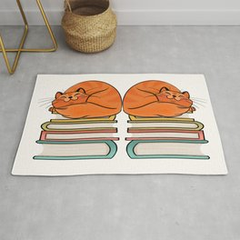 With Books And Cats Life Is Sweet Rug