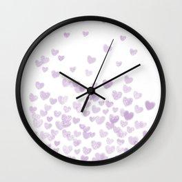 Hearts falling painted pastels purple heart pattern minimal art print nursery baby art Wall Clock