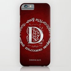 Joshua 24:15 - (Silver on Red) Monogram D Slim Case iPhone 6s