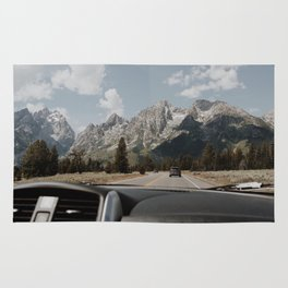 on the road: approaching the mighty Tetons Rug