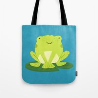 frog Tote Bags featuring Frog by Claire Lordon