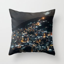 Rio Favela at Night Throw Pillow