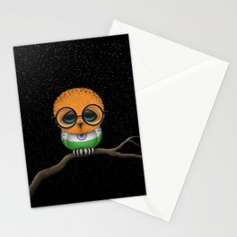 Baby Owl with Glasses and Indian Flag Stationery Cards