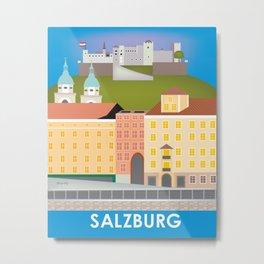 Salzburg, Austria - Skyline Illustration by Loose Petals Metal Print