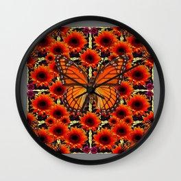 grey monarch butterflies sunflower patterns Wall Clock
