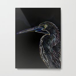 Colorful Digital Sketch of a Heron Metal Print