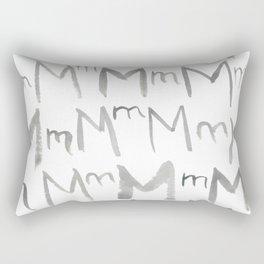Watercolor M's - Grey Gray Rectangular Pillow