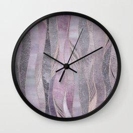 Glamorous Rose Gold Purple Wavy Glitter Lines Wall Clock