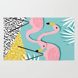 Bro - wacka design memphis throwback minimal retro hipster 1980s 80s neon pop art flamingo lawn Rug
