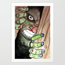 zombie breaking in Art Print