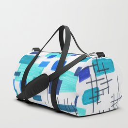 Minimalist Abstract Juvenile Colorful Aqua Blue Shapes Pattern Mid century Modern Duffle Bag