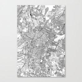 Mexico City White Map Canvas Print