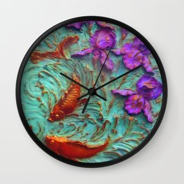 DIMENSIONAL PURPLE IRIS FLOWERS & GOLDEN KOI FISH Wall Clock