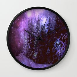 Galaxy Winter Forest Purple Wall Clock