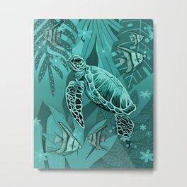 Green Sea Turtle Fantasy Scene Metal Print