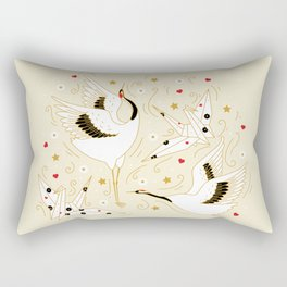 Origami Crane Metamorphosis (Cream) Rectangular Pillow