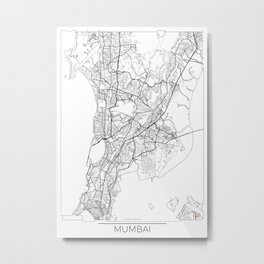 Mumbai Map White Metal Print