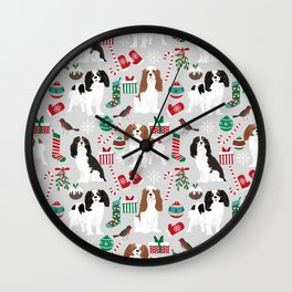 Cavalier King Charles Spaniel christmas pattern gift for dog lover pet friendly pet portrait Wall Clock