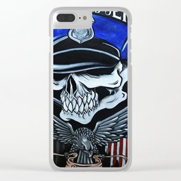 Police Skull Clear iPhone Case