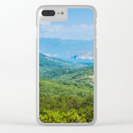Landscape with mountain and Adriatic sea in Croatia Clear iPhone Case