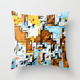 yellow brown and blue Throw Pillow