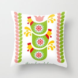 12 Days of Christmas - Three French Hens Throw Pillow