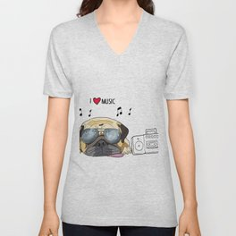 I love music-rock pug Unisex V-Neck
