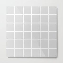 Simple modern gray background with a white grid Metal Print