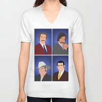 anchorman V-neck T-shirts featuring News Team Assemble - Anchorman by Tom Storrer