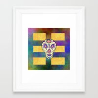 sugar skull Framed Art Prints featuring Sugar Skull by Linda Tomei