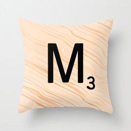 Scrabble Letter M - Large Scrabble Tiles Throw Pillow