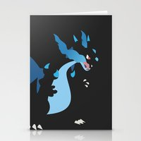 charizard Stationery Cards featuring Mega Charizard X PKMN by Rebekhaart